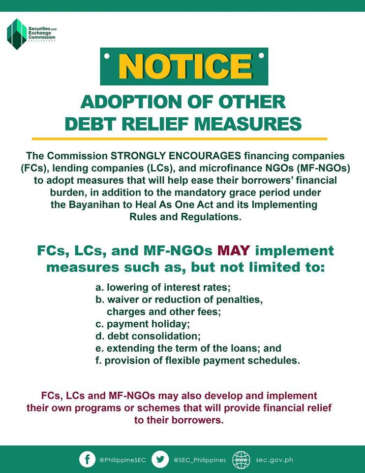 SEC Notice on adoption of other debt relief measures.