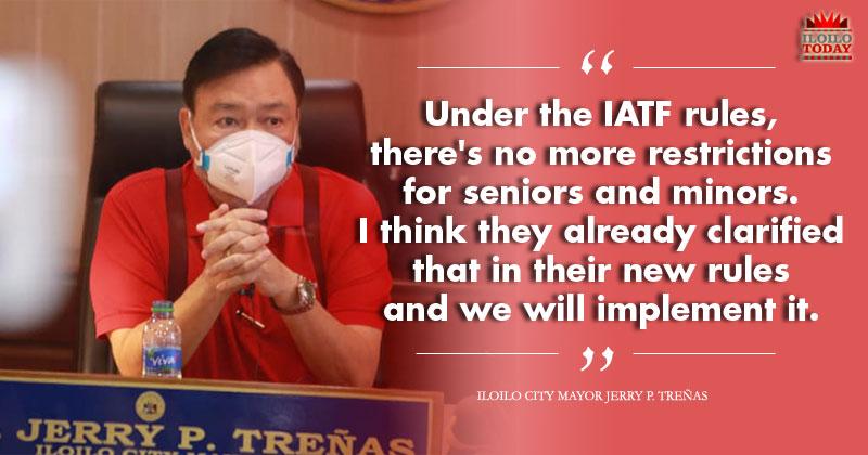 Treñas: No more restrictions for senior citizens, minors in Iloilo City