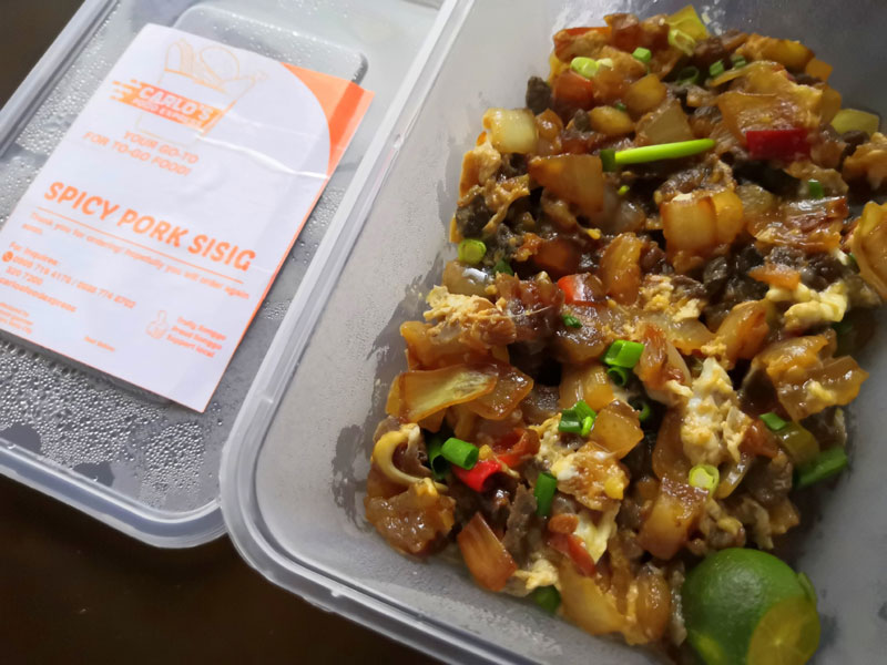Spicy pork sisig of Carlo's Food Express