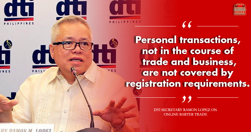 DTI chief clarifies statement on online barter trade