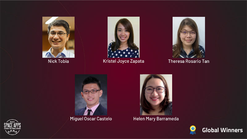 Data analysts Nick Tobia, Kristel Joyce Zapata, Theresa Rosario Tan, Miguel Oscar Castelo, and Helen Mary Barrameda from CirroLytix won the Space Apps COVID-19 Challenge.