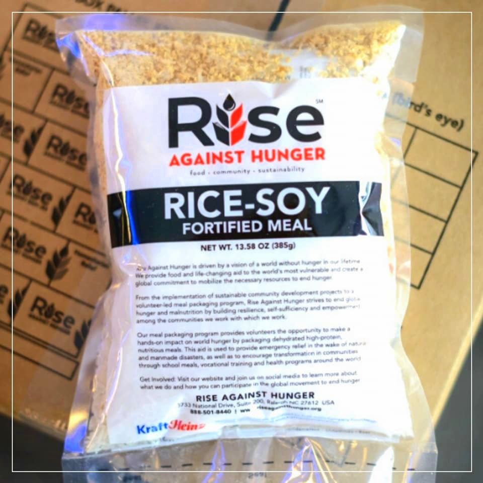 Nutritious Rice-Soy fortified meal packs from RISE Against Hunger.