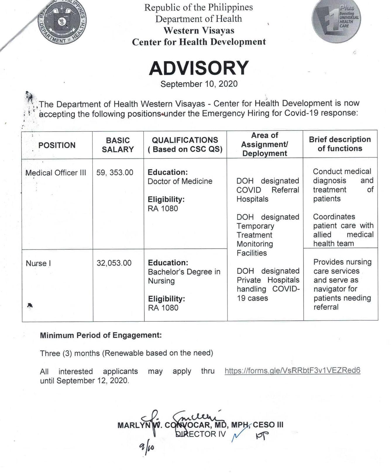 DOH Western Visayas hiring advisory.