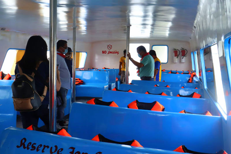 Inside the fiberglass boat in Guimaras