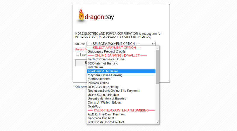 Dragonpay Payment Options.
