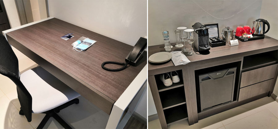Working table and minibar.