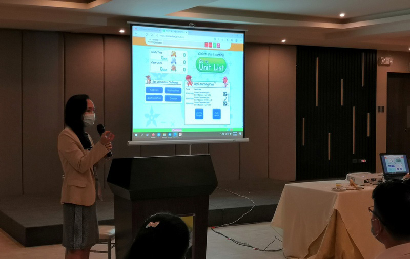 Ms. Nur-Hannah Saad-Mirrar, Project Head and General Manager of Miraipartners Learning Center shows how Surala Ninja e-learning platform works.