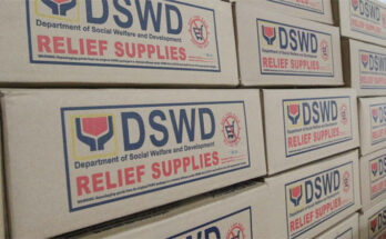 DSWD food packs and relief goods.
