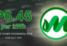 MORE Power lowest electricity rate for July 2021.